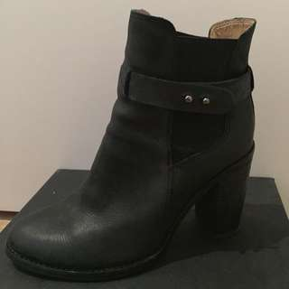 Tony Bianco Black Leather Ankle Boot