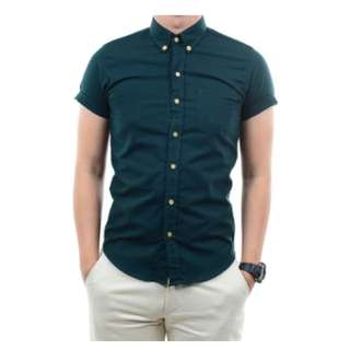 spring green button down shirt