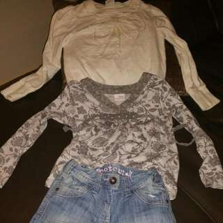 Girls Jumper Blouse Jean's Outfit Size 7-8yrs