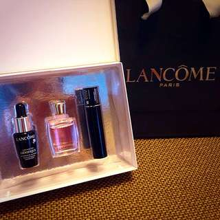 Lancome 蘭蔻 禮盒組-肌因賦活露+香水+睫毛膏