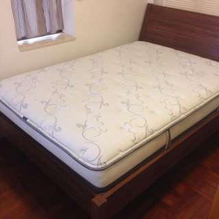 IKEA Nyvoll Bed Frame + Bedside Table + Simmons Mattress