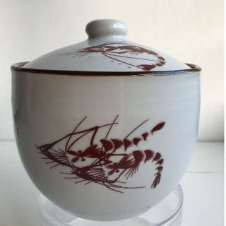 Chinese Ceramic Pottery Container Covered Bowl with painting of Prawns