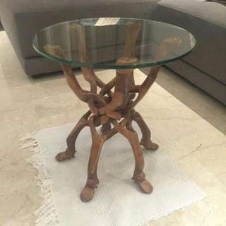 Glass Top Wooden Coffee Table With Foldable Stand
