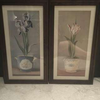 Beautiful Flower Paintings With Wooden Frames