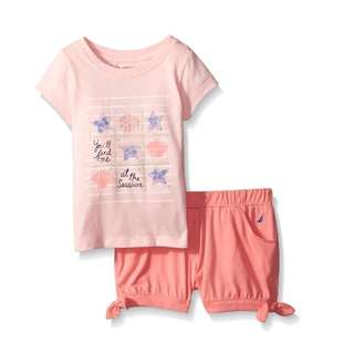 Brand New In Pack Nautica Baby Girls' You'll Find Me At Th Graphic Short Set