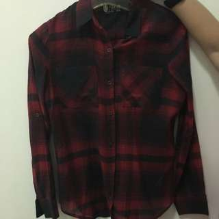 Cotton On Red Black Checkered Flannel Long sleeve shirt