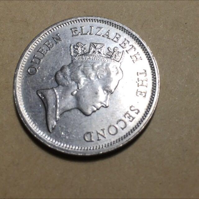國外錢幣香港1990年女王頭壹圓硬幣