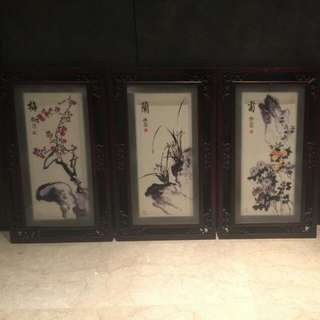 Chinese Paintings In Wooden Frames