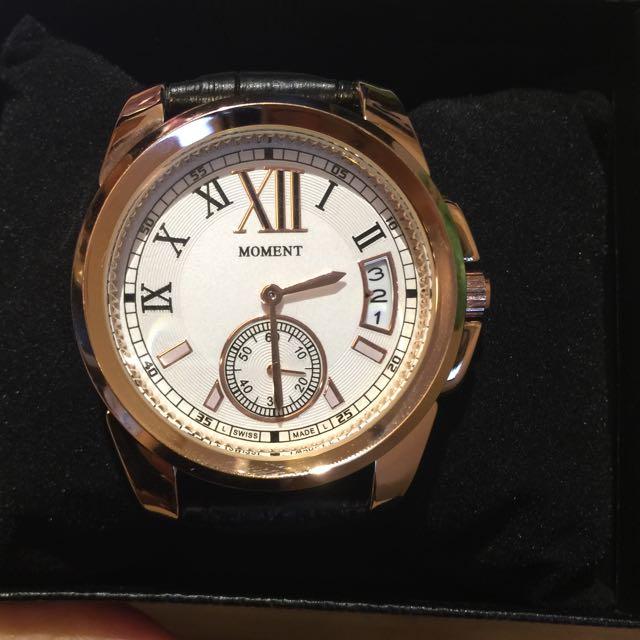 卡地亞款真皮錶帶質感中性錶