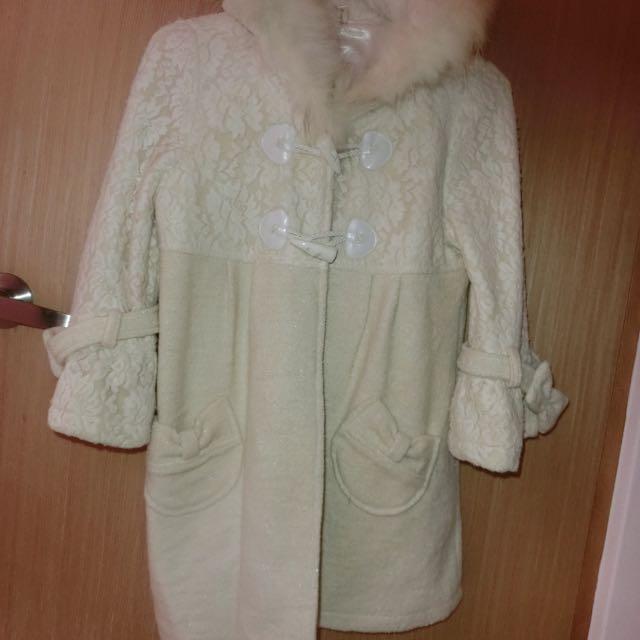 正韓國製 米白色公主風厚外套