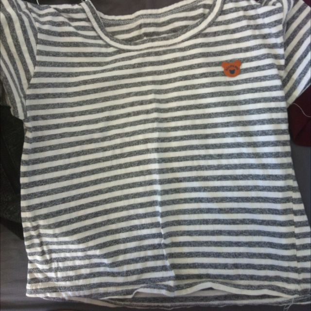 Bear Striped Crop Shirt (size m)