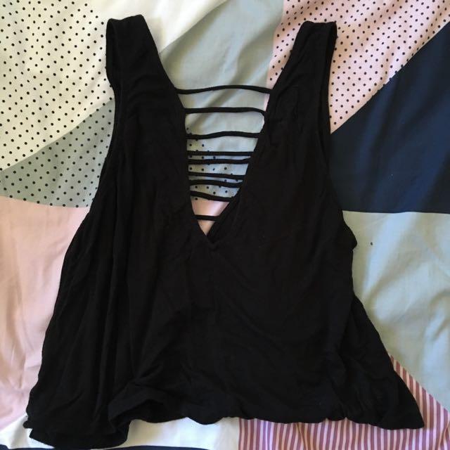 Black Stringed V Neck Crop/tshirt