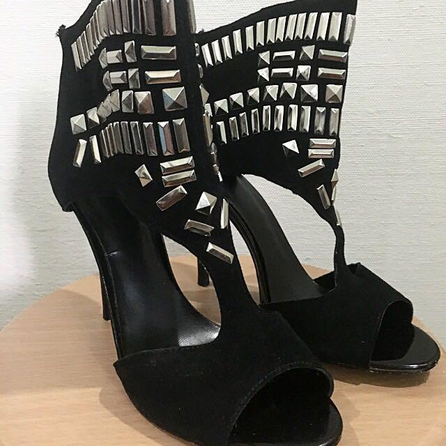 Charles & Keith Studded Peep Toe Heels (Size 8)