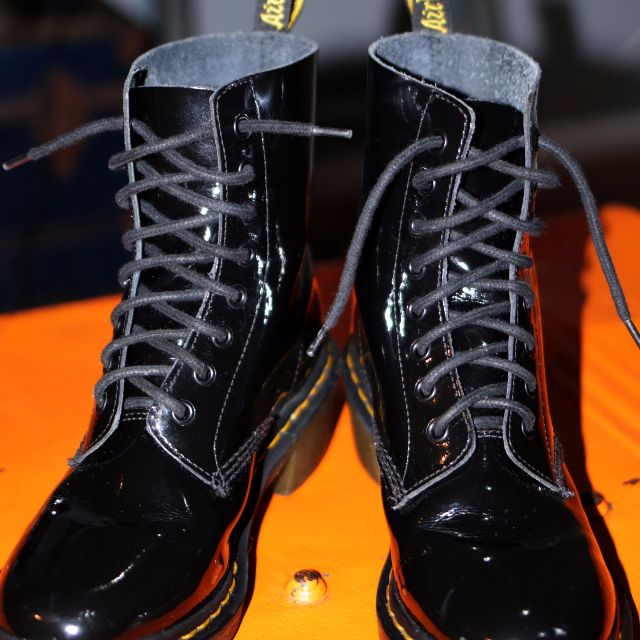 Dr.Martens 'Clemency' Patent Leather Heeled Boots, Womens size 10.