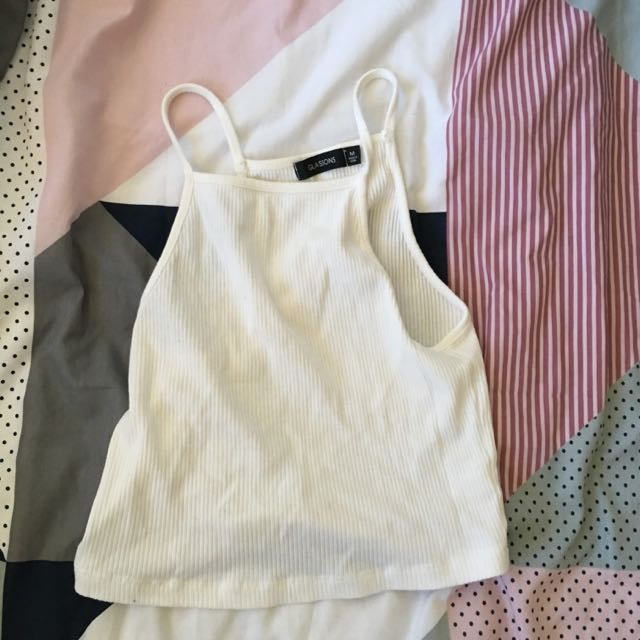 Glass ons White Crop Top