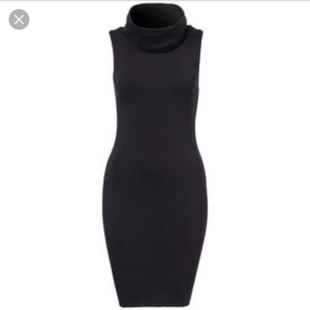 Kookai Black Bodycon Dress w High Neck