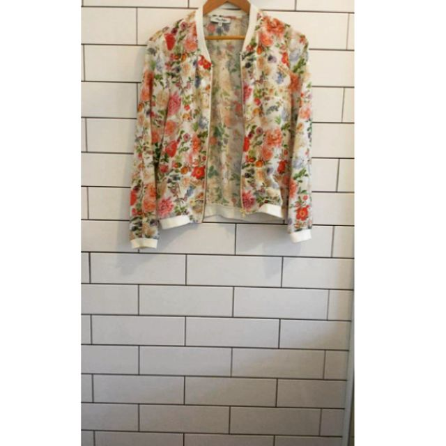 Miss Shop Lightweight Floral White Bomber Jacket