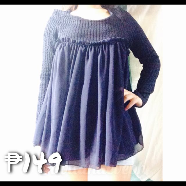 Navy Blue Knitted With Chiffon Overlay Longsleeve