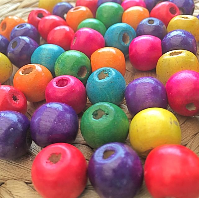 New Multi-colored Wooden Beads