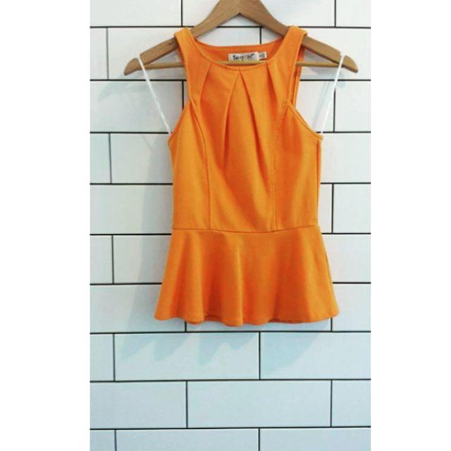SunnyGirl Orange Peplum Top