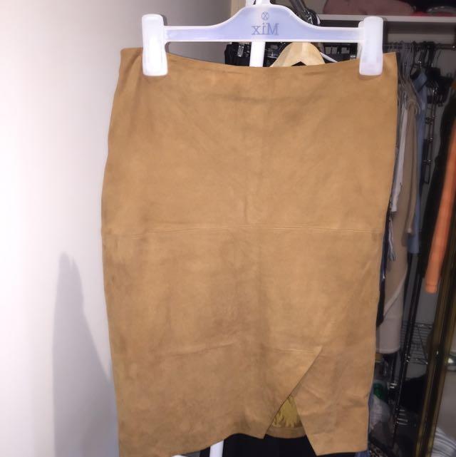 Susan Tan Real Suede Skirt