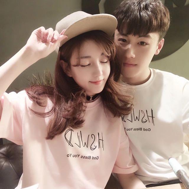 🈂小清新韓國短袖t恤青年情侶裝