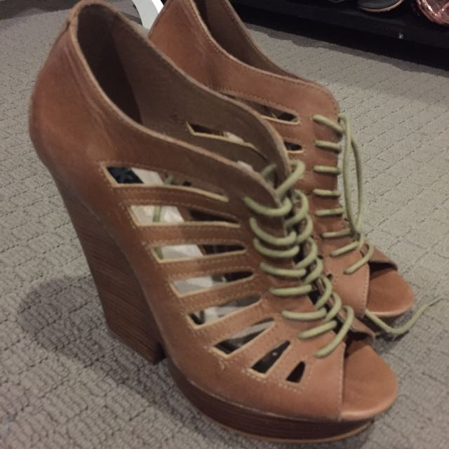 Tan Lace Up Wedges Size 38