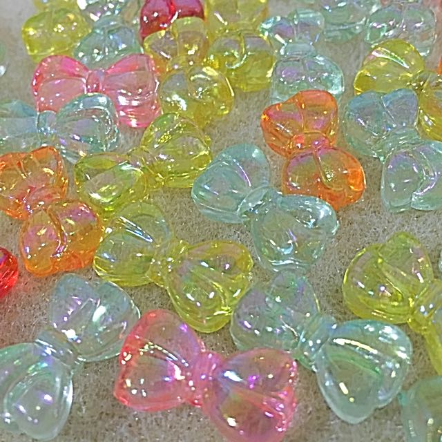 Translucent Multi-colored Plastic Bow Beads