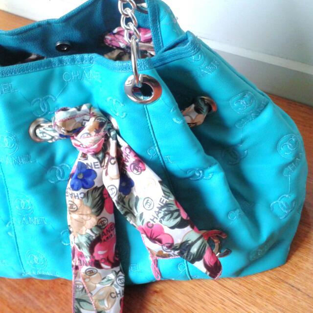 Turquoise Channel Tote/handbag
