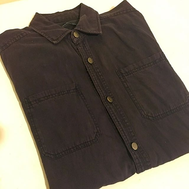 Washed Black Button Up Shirt