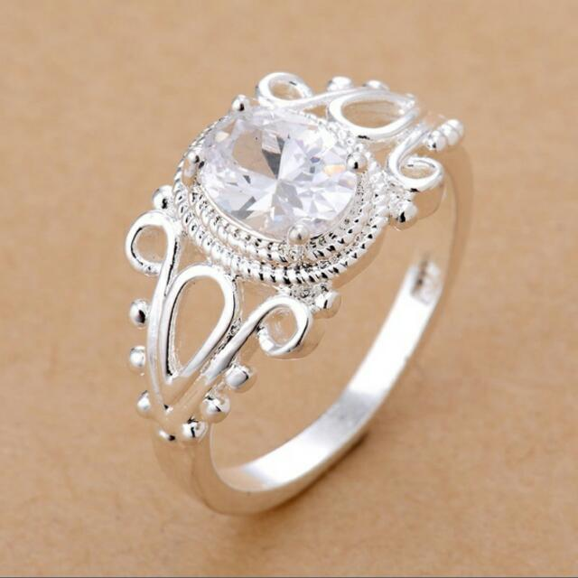 White Topaz Silver Ring