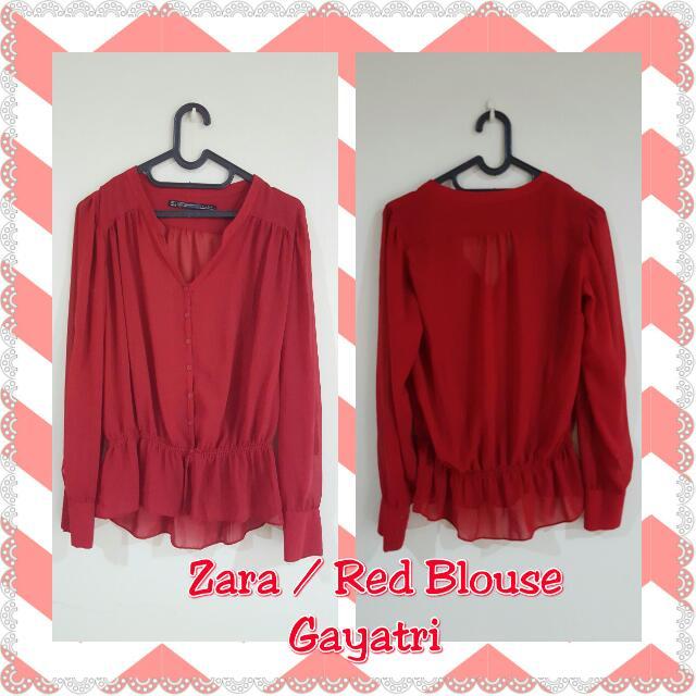 ZARA BLOUSE - Red Blouse
