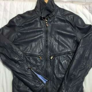 MASSIMO DUTTI AUTHENTIC LEATHER JACKET SMALL SIZE