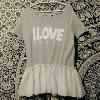 Customized I Love Tokyo Skirt-top