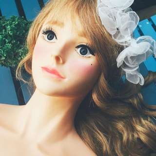 Annababy.C 安娜美模 2016春季新品 「Nana 娜娜 」 奶茶色 100% 全真髮  24吋 帶肩模特兒 假人頭 新娘秘書 編髮
