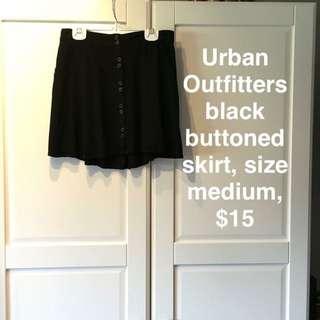 Black Buttoned Skirt