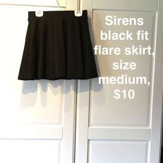 Black Fit/Flare Skirt