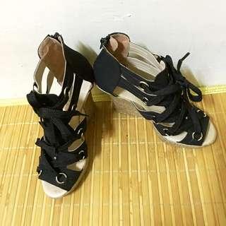 🇹🇼🇹🇼 MIT 羅馬黑色綁帶楔型涼鞋 🇹🇼🇹🇼 辣妹韓妞必備款