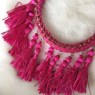 Leather Neckpiece With Silk Tassels And Swarovski Crystal Elements