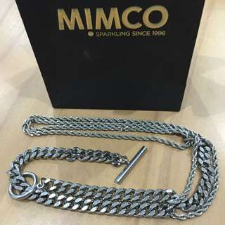 Long Solid Silver Toggle Mimco Necklace