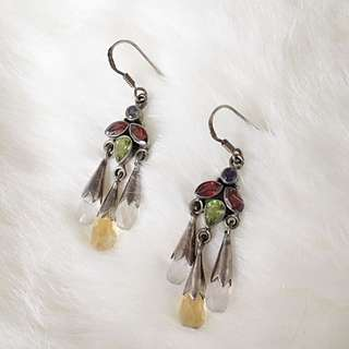 925 Stirling Silver Earrings With Semi-precious Stones