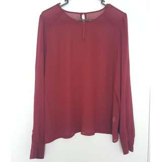 Sportsgirl sheer chiffon wine long sleeve office blouse