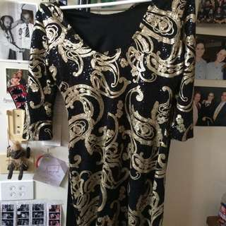 Sequin Black And Gold Formal Dress