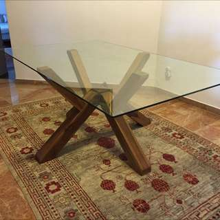 Glass Table With Pure Teak Base