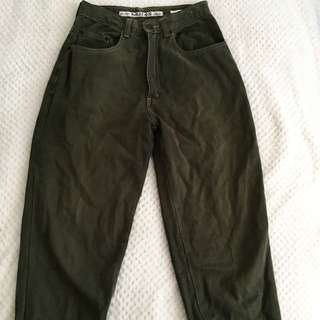 High-Waisted Olive Baggy Jeans