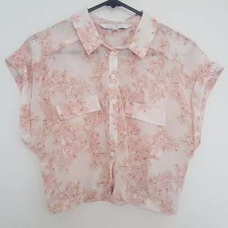 Forever New cropped floral blouse