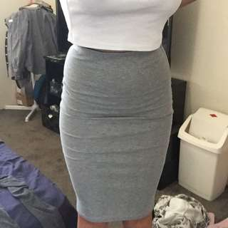 Grey Cotton High Waisted Skirt