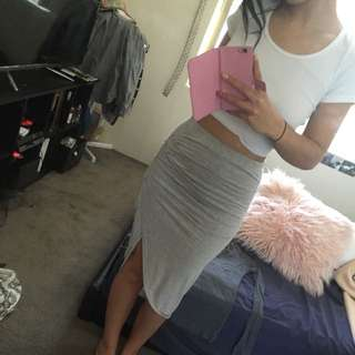 Gray Cotton Skirt