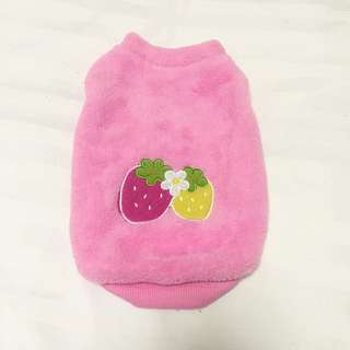 Pink Fleece Strawberry Pet Outfit
