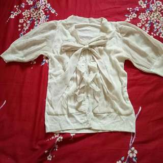 Nude Blouse With Bow